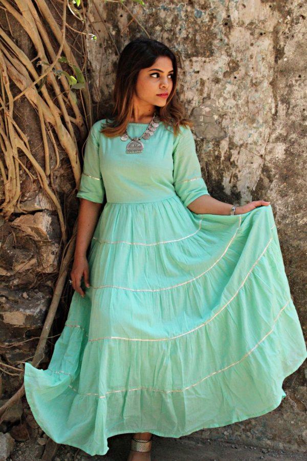 Women's MulMul Cotton Tiered Kurti Dress