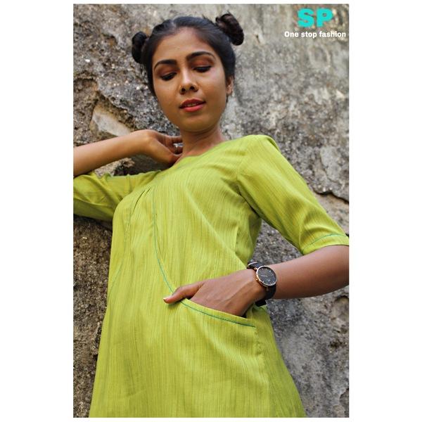 Slub Rayon Pocket Dress