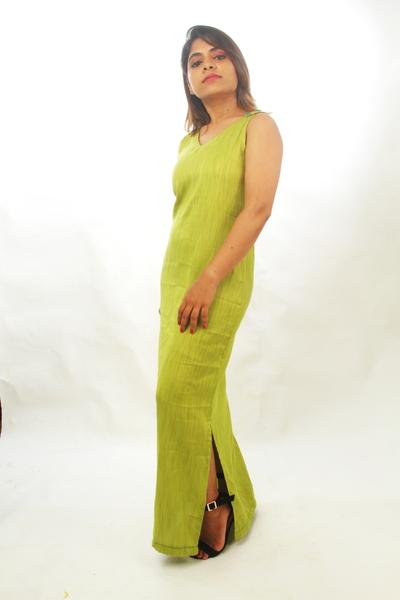 Slub Rayon Maxi Dress