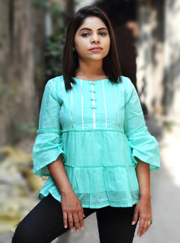 women's wear Double Layer Pleated MulMul cotton Top