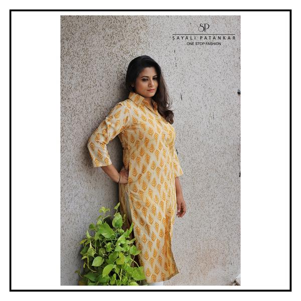 Mustard block print cotton kurti