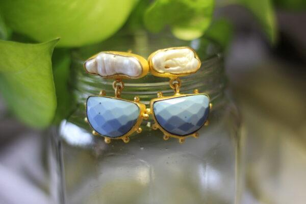 Semi Precious Stones And Pearl Dangler Earrings.
