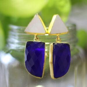 semi precious stone triangle dangler earrings