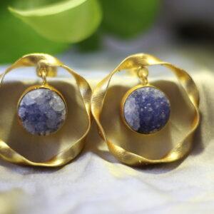 Semi Precious Druzy Stone Ring Earrings