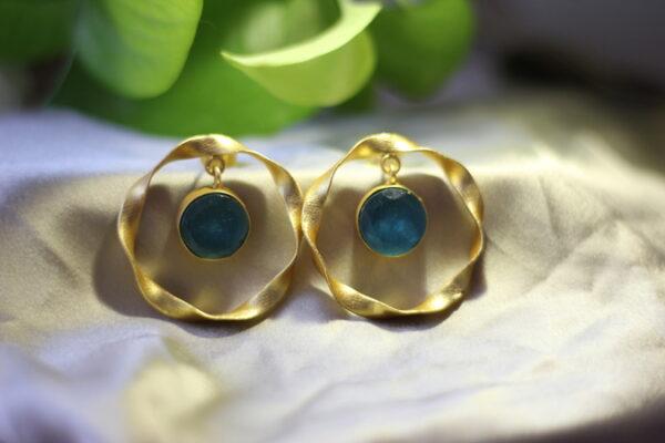 Semi Precious Druzy Stone Ring Earrings.