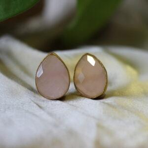 Semi Precious Pear Stone Earrings.