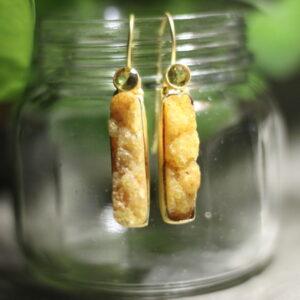 Semi Precious Stone Elongated Druzy Hoop Earrings.