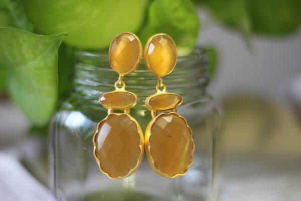 Semi Precious Stone Long Dangler Earrings.