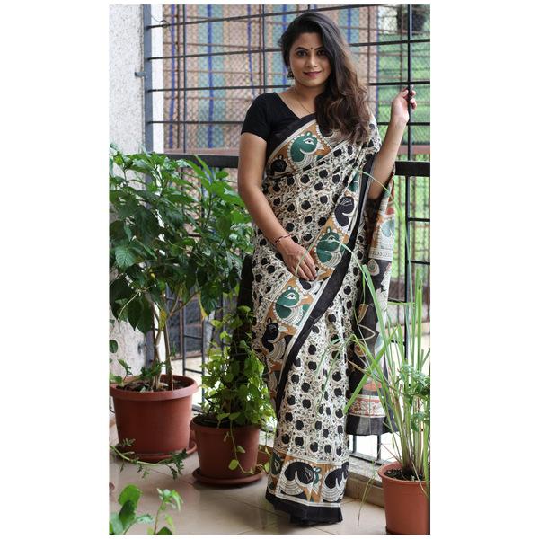 MulMul Kalamkari Cotton Saree