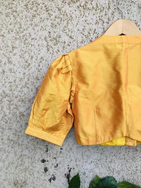Mustard Yellow Puff Pleated Blouse
