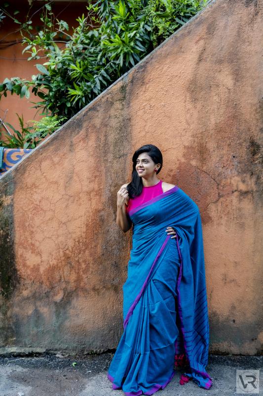 Blue Khadi Cotton Stripe Saree