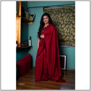 Red Khadi Cotton Saree.