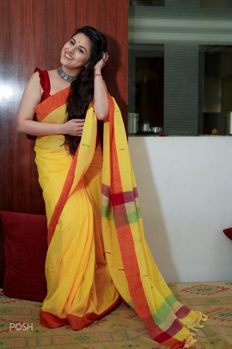 Yellow Slub Tassels Saree.